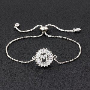 """Silver Round Letter """"M"""" Initial Name CZ Bracelet"""